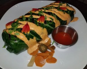 Mojo opah burrito in collard wrap