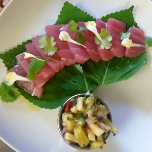 Ahi Sashimi, Basil Oil, Pineapple Salsa, Micro Cilantro