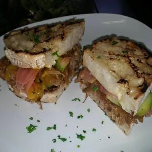 Cuban Sandwich w/ Crispy Carnitas, Pickled Radish & Cucumber on House Baked Ciabatta