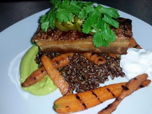 Crispy Pork Belly over Grilled Baby Carrots and Spanish Quinoa